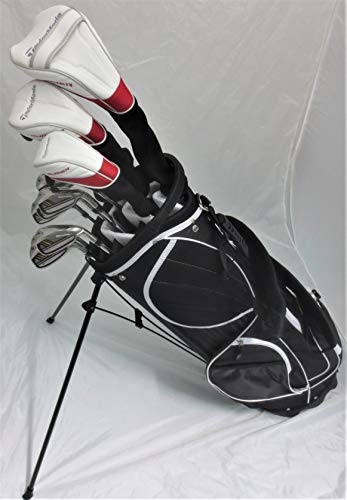TaylorMade Mens Taylor Made Golf Set - Complete Driver, Fairway Wood, Hybrid, Irons, Putter, Clubs Stand Bag Stiff Flex