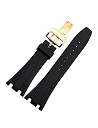 NESUN Silicone Black Watch Band With Butterfly Buckle For Audemars Piguet Men's Watches 26mm/28mm Style B (28, Gold)