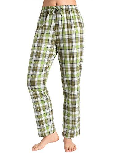 ama Pants Cotton Lounge Pants Plaid PJs Bottoms S Yellowgreen ()