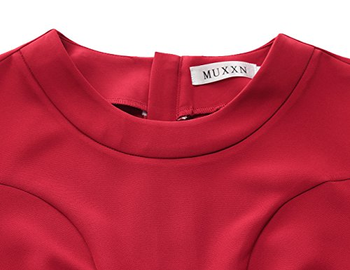MUXXN Women's Vitnage Back Split Dresses OL Pencil Dress (Red XL)