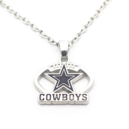BAS Dallas Cowboys Necklace with Football Surround and Team Pendant Charm with 20 inch Stainless Steel Chain
