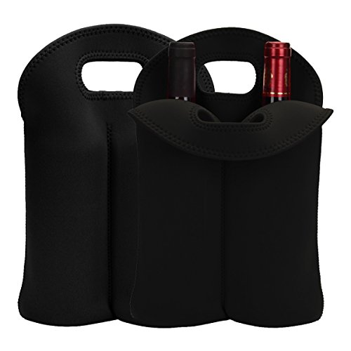 (Laishalaiku 2 Pack Neoprene Wine Carrier Tote Bag for Travel, Insulated 2 Bottle Carrying Bag, Thick Neoprene Wine Bottle Holder for Picnics, Beach,)
