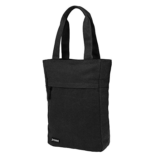 """Multi Pocket Laptop Tote (HOOPOE All-In Black Waxed Canvas, 13"""" Laptop LARGE Women Laptop Slim Thin Design Tote Super Sturdy Multi Pocket Shoulder Bag School Work College Travel Commuting Casual Business Zippered Pockets)"""