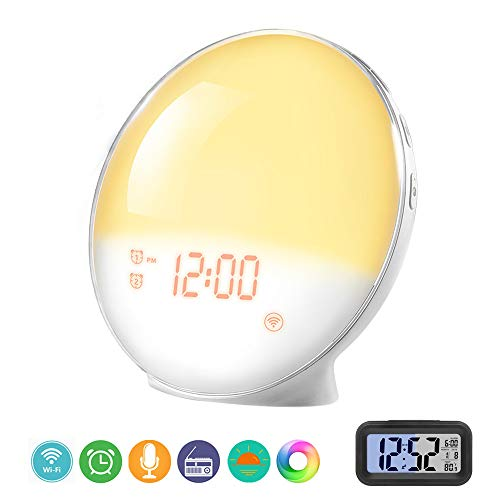Prismtec Sunrise Alarm Clock, Smart Wake Up Light APP Controllable, with 4 Alarms Nature Sounds FM Radio 7 Colors Snooze Function Sleep Aid Night Light (2019)