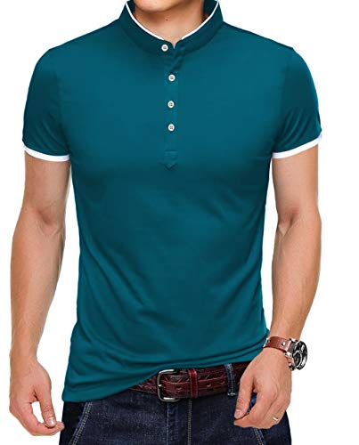 KUYIGO Men's Casual Slim Fit Shirts Pure Color Short Sleeve Polo Fashion T-Shirts XL Sapphire