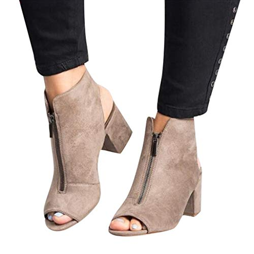 Chunky Heel Sandals for Women Cutout Peep Toe Zipper Front Pumps Sandals Dress Shoes (US:8, Gray)