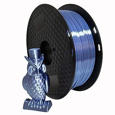 Silk Silver Blue 1.75mm PLA Filament 3D Printer Filament 1KG (2.2LBS) Printing Material Shiny Silky Filament