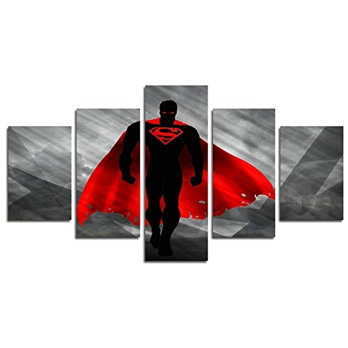 Leyrus 5 Piece Print Batman V Superman Dawn of Justice Film Movie Poster Picture Living Room Home Decor Art Picture Print Painting On Canvas (No Frame) Unframed YSH057 50 inch x30 inch (Superman Picture Frame)