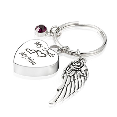 Engraved Personalised My Uncle My Hero Cremation Urn Jewelry Keychain Memorial Ash Keepsake February Amethyst Birthstone Angel Wings Pendant ()