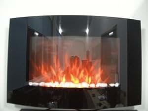 Tooltime - Estufa de pantalla para pared con efecto chimenea (tamaño grande, cristal, 2 kW), color negro