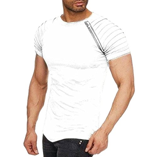 kaifongfu Men's Shirt,Solid Color Short Sleeve Striped Pleated Raglan T-Shirt Round Collar Zipper Blouse(White,2XL)