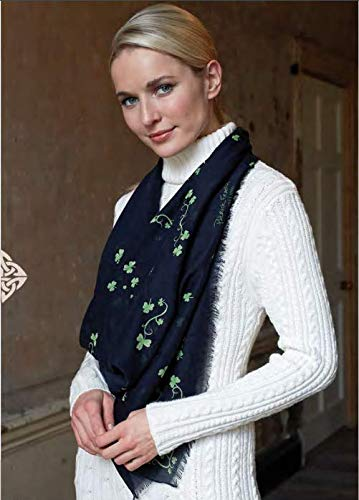 Patrick Francis Shamrock Designed Fashion Scarf, Navy Colour