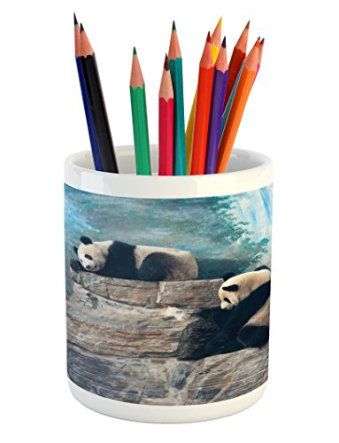 Beijing Panda - Lunarable Panda Pencil Pen Holder, Picture of Panda in Beijing Zoo Sitting on Stones Waterfall Painted Wall at The Back, Printed Ceramic Pencil Pen Holder for Desk Office Accessory, Blue Brown