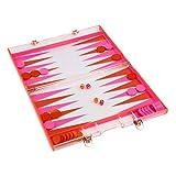 SunnyLIFE Travel Backgammon Game Set w/Transparent Waterproof Lucite Board - Neon Turquoise Orange