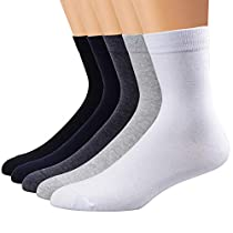 Ambielly Men Athletic Socks Cotton Casual Business Socks [5 Pairs]