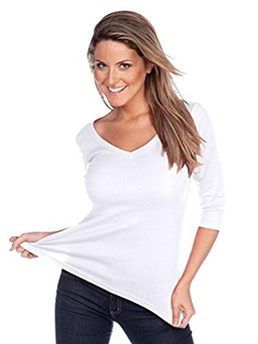 (Kavio! Women V Neck 3/4 Sleeve Top White 2XL)