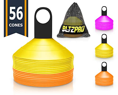 Bltzpro Disc Training Cones (Set of 56) - Agility Soccer/Football Cones with Carrying Bag and Holder. Ideal for Fitness Drill, Workout Speed Practice, Youth Kids Sports, Exercise for All Team Sports.