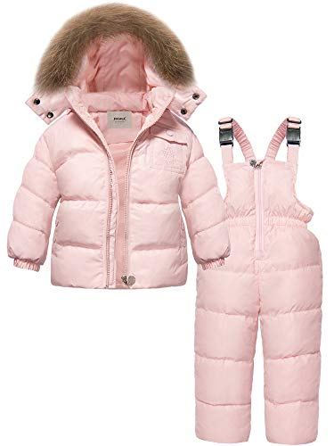 ZOEREA Girls Winter Snowsuit, Newest Children Clothing Sets Winter Hooded Duck Down Jacket + Trousers Snowsuit (Label L/3-4T, Pink)