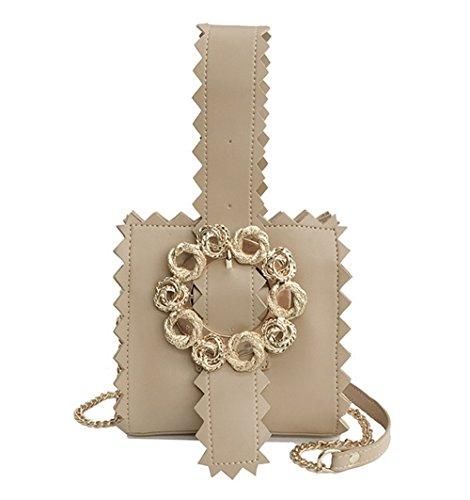 Rrock Woman Trend Chain Bolsa De Hombro De Personalidad Wild Messenger Bag Cuatro Colores,Khaki