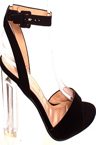 Lolli Couture Triple Strap Platform 6 Inch Hoge Hak Black-chacha-9