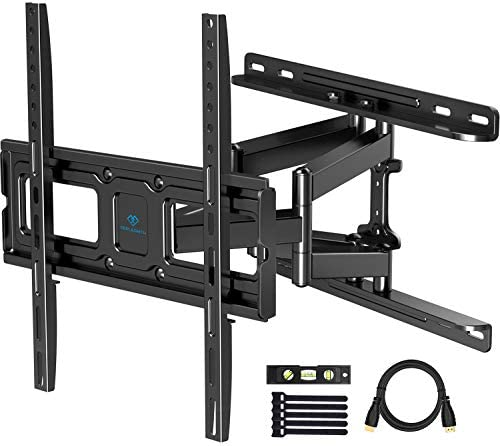 PERLESMITH TV Wall Mount Full Motion for Most 32-55 Inch Flat Curved TVs with Swivels, Tilts Extends, Dual Articulating Arms Wall Mount TV Bracket Supports TV up to 99 lbs, Max VESA 400×400