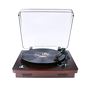 Deck Record Player for Vinyl, Vintage Phonograph Turntable with 2 Stereo Speakers Support PC Recording,RCA Output,3-Speed for 7〞10〞12〞LP