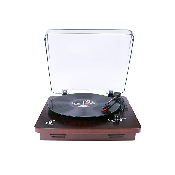 Deck Vinyl Record Player,dl Vintage Turntable Buit in 2x1W Stereo Speakers, Aux in,Line Out,PC Encording Record Player 4