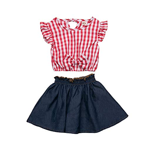 Toddler Baby Girl Outifts,Plaid Ruffle Sleeve T-Shirt Tops+Denim Pleated Skirts,2Pcs Clothes Set 5T