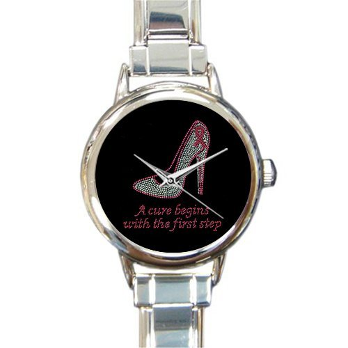 (Personalized Watch Breast Cancer Awareness Pink Ribbon Round Italian Charm stainless steel)