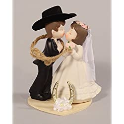 Western Wedding Kissing Couple Cake Topper or Table Decoration