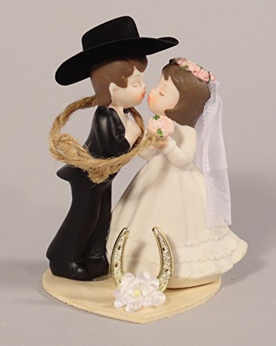 Western Wedding Kissing Couple Cake Topper or Table (Lasso Cake)
