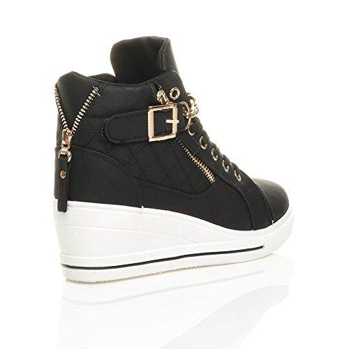 Ajvani Femmes talon compensée mi chaîne lacets baskets chaussures de tennis pointure Noir / Blanc Semelle KEv8xWyeO8
