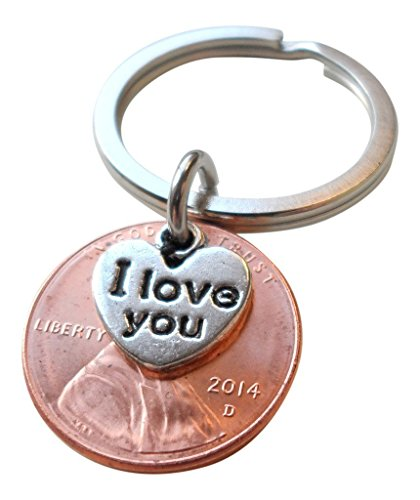 I Love You Heart Charm Layered Over 2014 Penny Keychain, 2 Year Anniversary Gift, Couples Keychain
