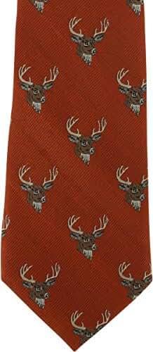 Orange Deer Silk Tie by Michelsons of London