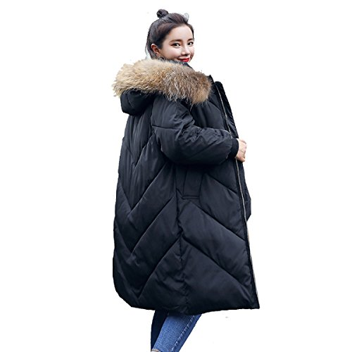 Coat Jacket Large Fur Long Knee Cotton Down Jacket Eiderdown Collar nihiug Section Down Winter C Outwear XactS