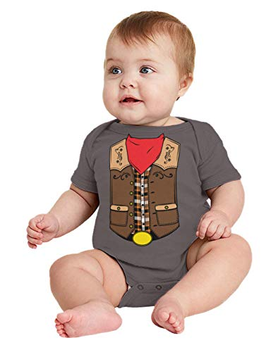 HAASE UNLIMITED Cowboy Costume - Western Wild West Bodysuit (Charcoal, 12 Months) ()