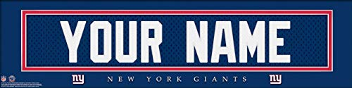 (New York Giants NFL Jersey Nameplate Wall Print, Personalized Gift, Boy's Room Decor 6x22 Unframed Poster)