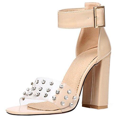 Donne Zanpa Mode Sandali Heels Block Ivory 7w6xz4q
