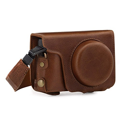 MegaGear MG1436 Panasonic Lumix DC-ZS200, TZ200 Ever Ready Genuine Leather Camera Case and Strap - Brown
