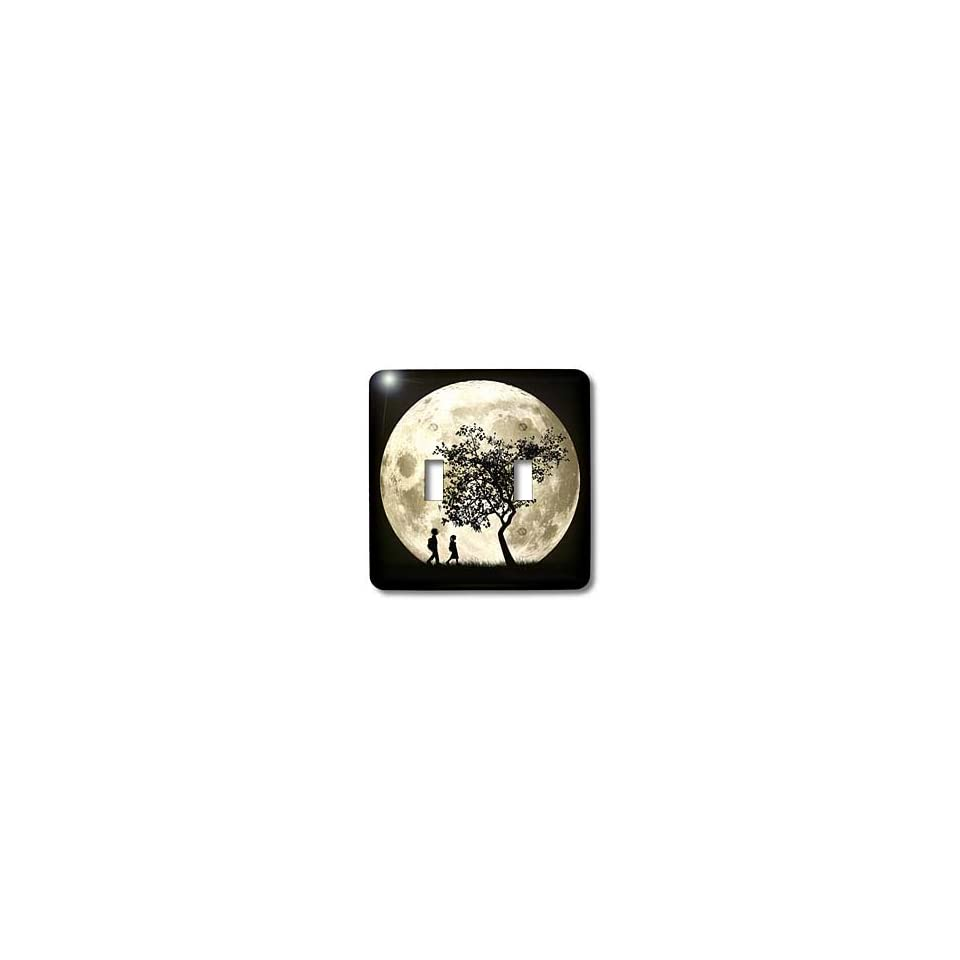 Perkins Designs Space   Full Moon silhouette of people walking near a tree and under a bright full moon   Light Switch Covers   double toggle switch