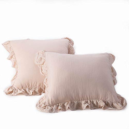 meadow park Stone Washed French Linen Standard Pillow Case 2 Pieces - Super Soft, 20