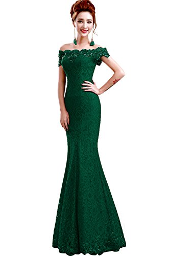 Babyonlinedress Off-Shoulder Lace Formal Dresses for Women Evening,Green,14