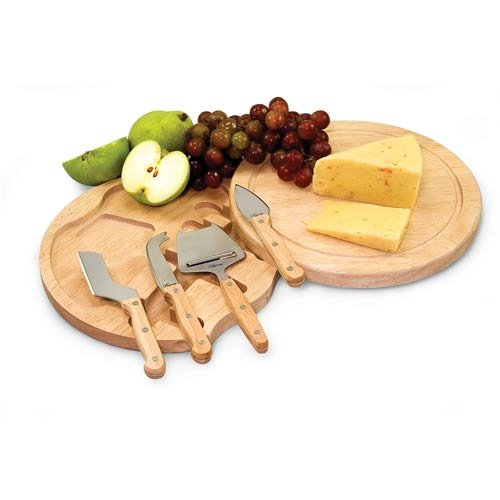 Swivel-Style Circular Cheese Board with Storage for Four Assorted Cheese Tools