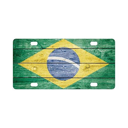 (Jesspad Car License Plate Holders, Brasil Brazil Brazilian Flag Automotive,Auto Metal Car Bumper Accessories Tag Cover)