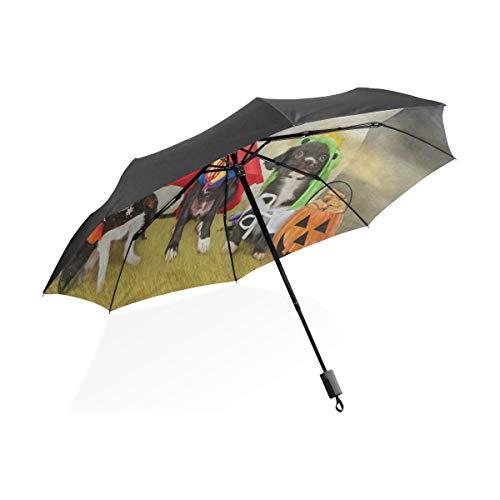 Umbrella Hipster Puppy Dog Dressed In Halloween Costumes Folding Anti-UV Umbrella Lightweight -