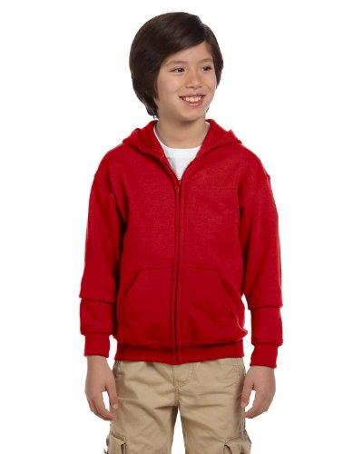 Gildan boys Heavy Blend Full-Zip Hooded Sweatshirt(G186B)-RED-M