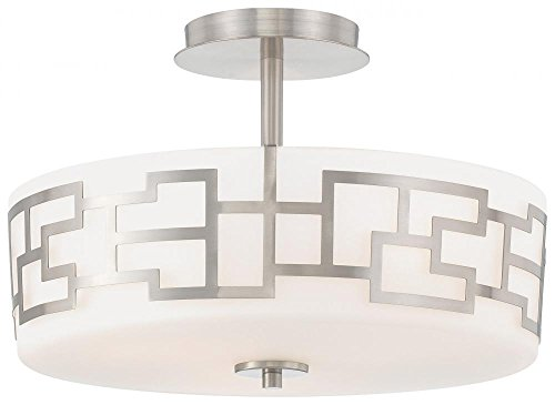 George Kovacs P198-084, Alecias Necklace, 3 Light Semi Flush Ceiling Fixture, Brushed Nickel