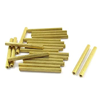 20 Pcs M2 Female Thread Cylindrical Brass Stand-off Support M2x32mm