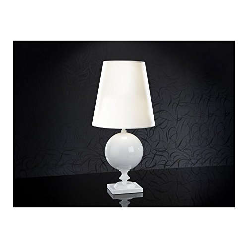 Schuller Spain 664410/7283I4L Traditional White Shade Table Lamp Glossy White 1 Light Living Room, bed room, Study, Bedroom LED, White shade White Table Lamp | ideas4lighting by Schuller