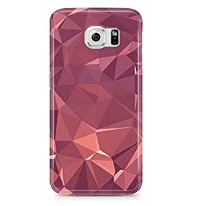 Samsung S6 Edge Case Rose Gold Geomaterical Pattern-Metal Plate Light Weight Wrap Around Phone Cover